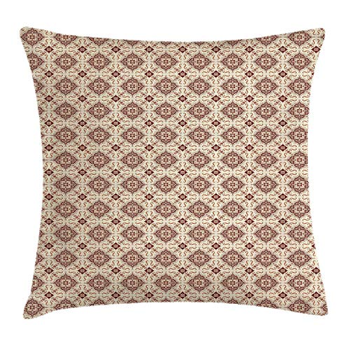 YXZILH Vintage Throw Pillow Cushion Cover, Victorian Inspirations Pattern Ancient Flowers Curves and Spirals, Decorative Square Accent Pillow Case, 18 X 18 inches, Beige Brown Pale Orange -