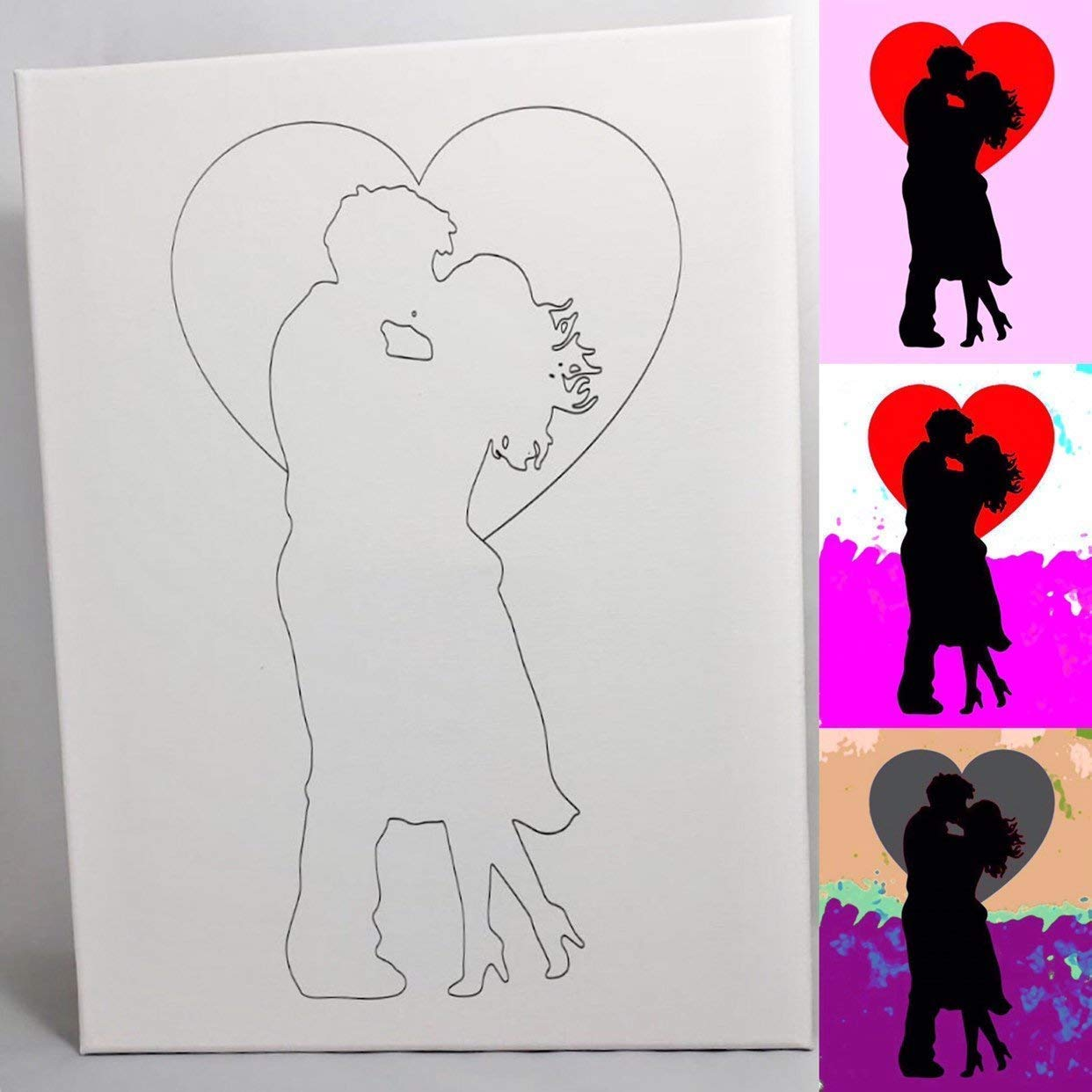 Amazon Com Couple Kissing Diy Coloring Canvas Paint And Sip Handmade