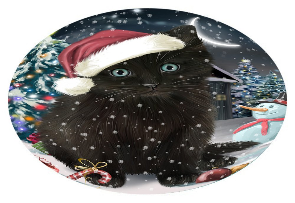 Doggie of the Day Have a Holly Jolly Black Cat Christmas Oval Envelope Seals OVE62540 (20)