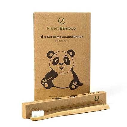 Planet Bamboo ♻ Paquete de 4 cepillos de dientes de bambú (adultos ... 8e3592529daf