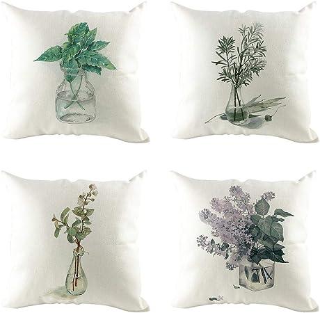 ACEBABY 4 Pack Funda Cojines Sofa Moda Simple Flor Impresión de Lino Verde Almohada Cojín Adecuado para Decoración del Hogar Oficina/Sofá/Cama/Banco/Coche/Bar Serie de Plantas 45x45cm: Amazon.es: Hogar
