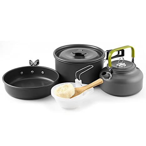 Utensilios Cocina Camping, Migvela 2-3 Acero Inoxidable Utensilios de Cocina Ollas Sartén Acampar 10 Set Utensilios de Cocina para el Campamento ...