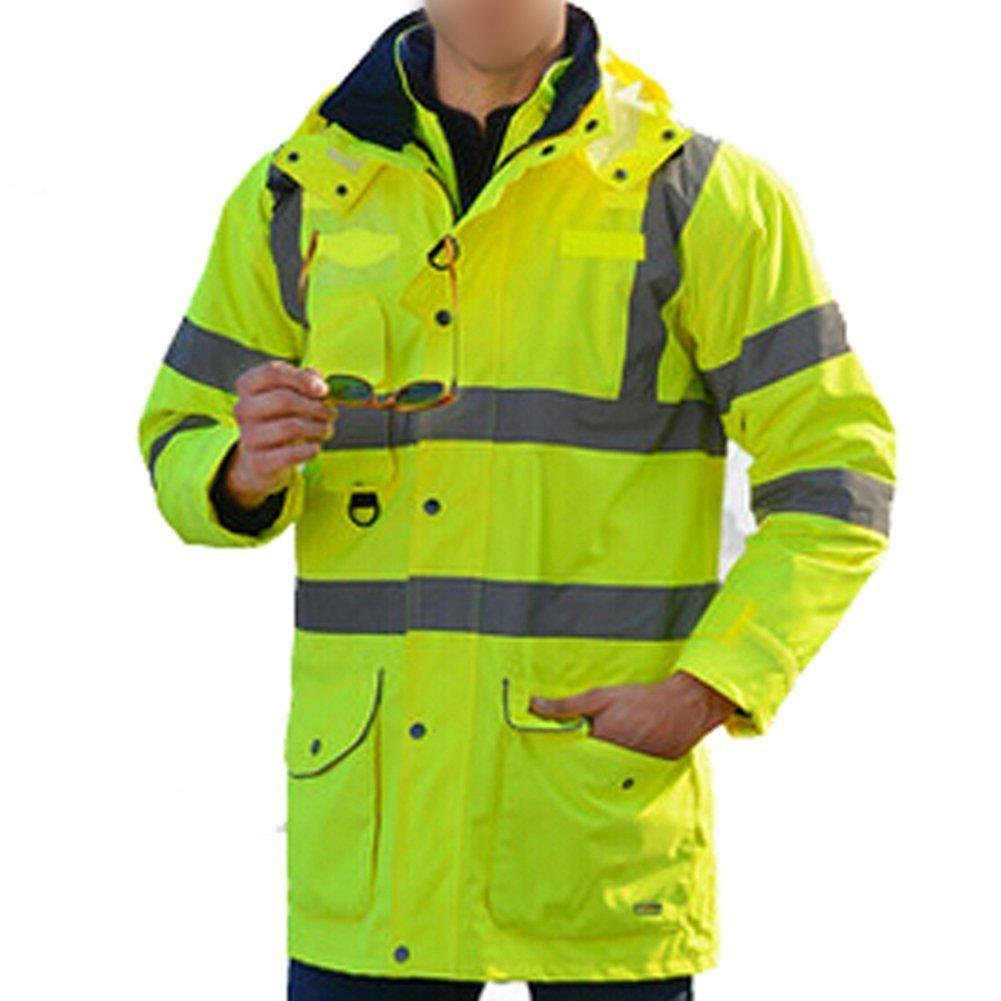 Joyutoy Reflective Jacket 7 in 1 Yellow Waterproof Reflective Class 3 Safety Parka Jacket With Zipper and Pockets Size XXL