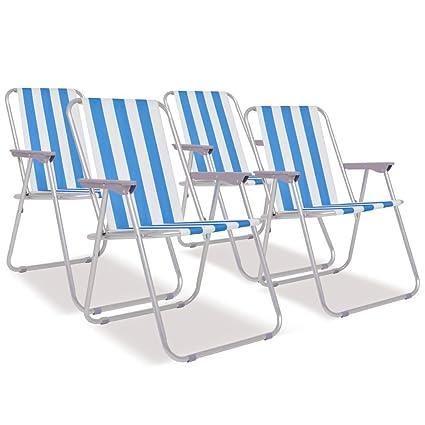 Festnight- Sillas de Playa de Camping Plegables Azul Blanco ...