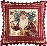 16'' Needlepoint Pillow with Tassel & Beads - Safari Santa