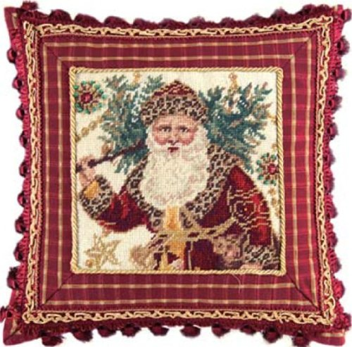 16'' Needlepoint Pillow with Tassel & Beads - Safari Santa by C & F Enterprises