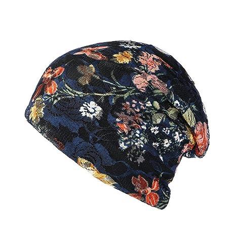 ZXGJMZ Las Mujeres de Encaje de Flores Beanie Hat para Mujer ...
