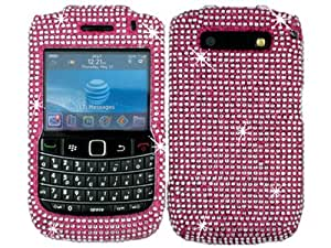 Hot Pink Silver Bling Rhinestone Crystal Case Cover for Blackberry Curve 8900