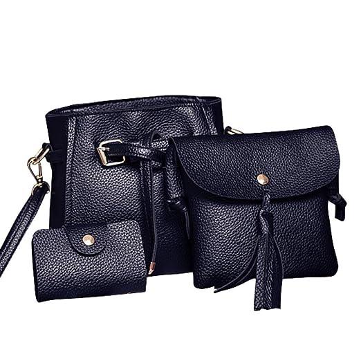 Amazon.com  Rakkiss Women Four Set Handbag Shoulder Bag Fashion Tote Bag  Crossbody Wallet Leather Satchel Backpack(Four Pieces) (One Size 3874dd3bc0b92