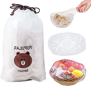 QLY Fresh Keeping Bags 100 pcs,Reusable Elastic Food Storage Covers, Edging Stretch Universal Kitchen Plastic Sealing Wrap Bowl Covers (100 pcs)