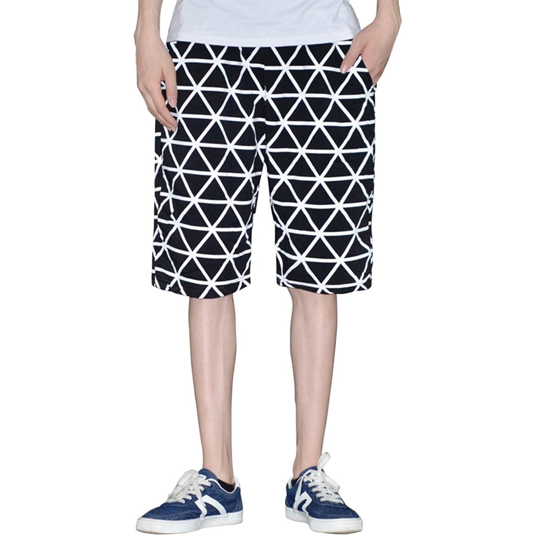 Zhhlinyuan Verano Holiday playa Atlético Drawstring Pantalones cortos para  Adolescentes Chicos Hombres,Black Lattice Cotton