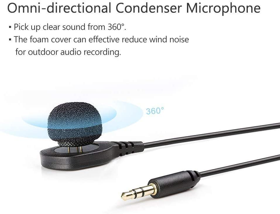 BOYA HLM1 Omni-Directional Condenser Lapel Pin Mount Style Hidden Microphone Wearable Pin Mic 3.5mm Plug Compatible with Canon Nikon Sony Panasonic Pentax DSLR Camera Camcorder