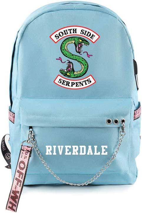 Adonisaon Riverdale South Side Serpents Backpack Laptop Bag Travel Backpack Cool Zip Backpack for Men Women Teens