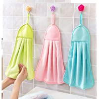 SHOP BY ROOM Hanging Synthetic Hand Napkin for Wash and Kitchen Basin (Assorted Colour) - Set of 3