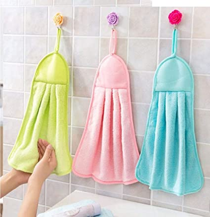 SHOP BY ROOM Hanging Synthetic Hand Napkin for Kitchen/ Wash Basin (Assorted Colour) - Set of 3