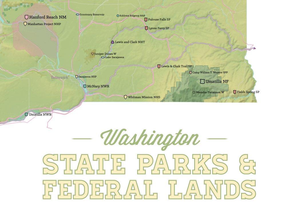 Palouse Falls Washington Map.Amazon Com Washington State Parks Federal Lands Map 18x24 Poster