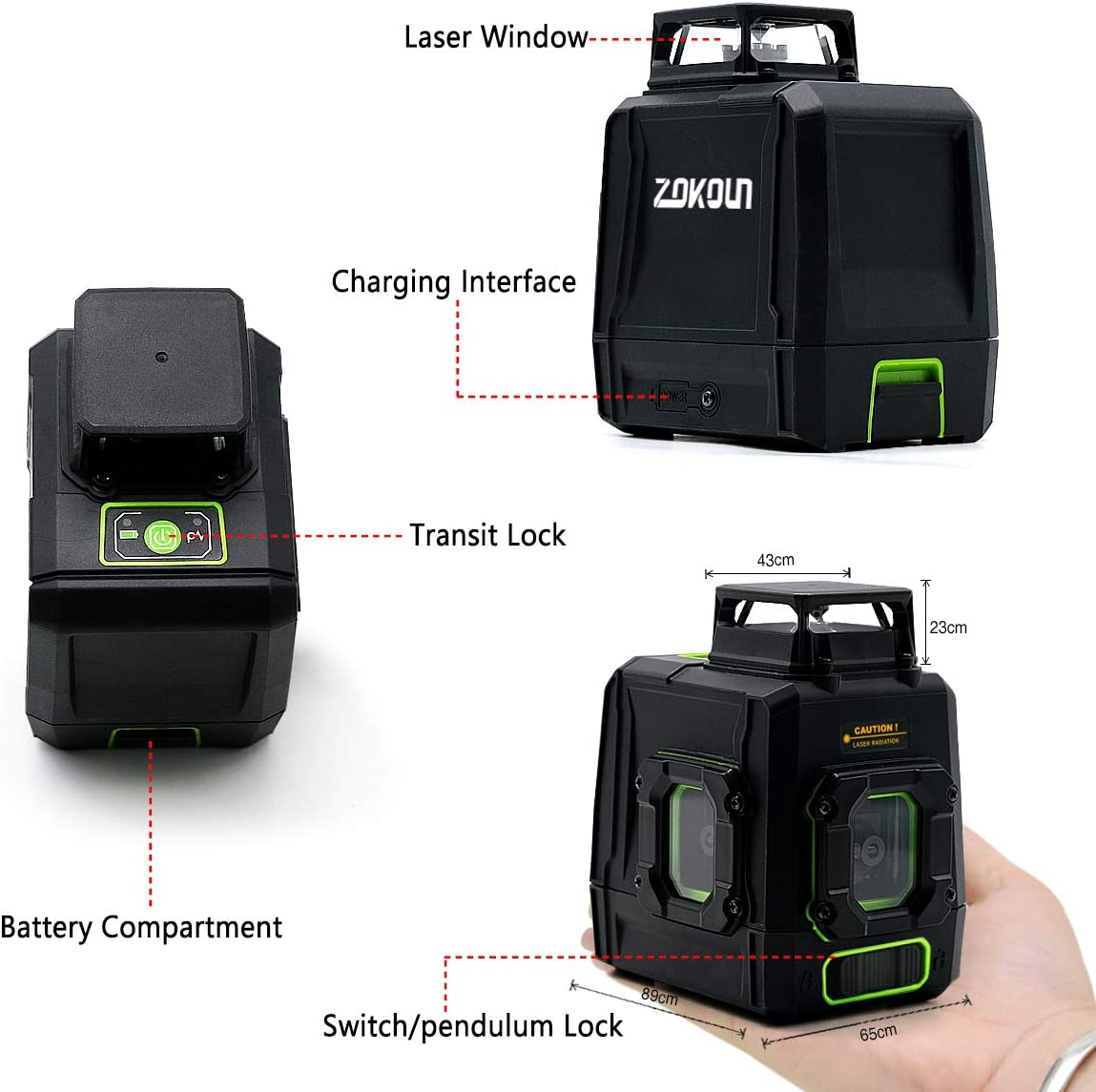 AK1CG Self-Leveling Green Beam Laser Level Dual Plane Leveling and Alignment Line Laser Level One 360/° Vertical Line Magnetic Pivoting Zokoun 360 Cross Line Laser