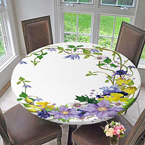PINAFORE HOME Circular Table Cover SPR Flowers a Bouquet for Design Anemones primroses Freesia Lilies Irises Vector for Wedding/Banquet 35.5