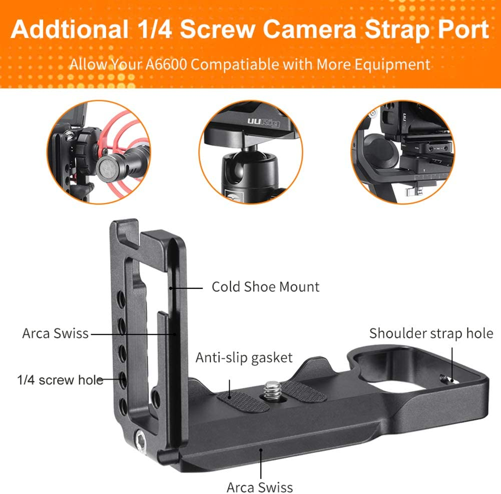 Accrie R028 Quick Release Plate L-Shaped Bracket for Sony A6600 Microphone Extend Tripod Holder for Dual Arca Swiss