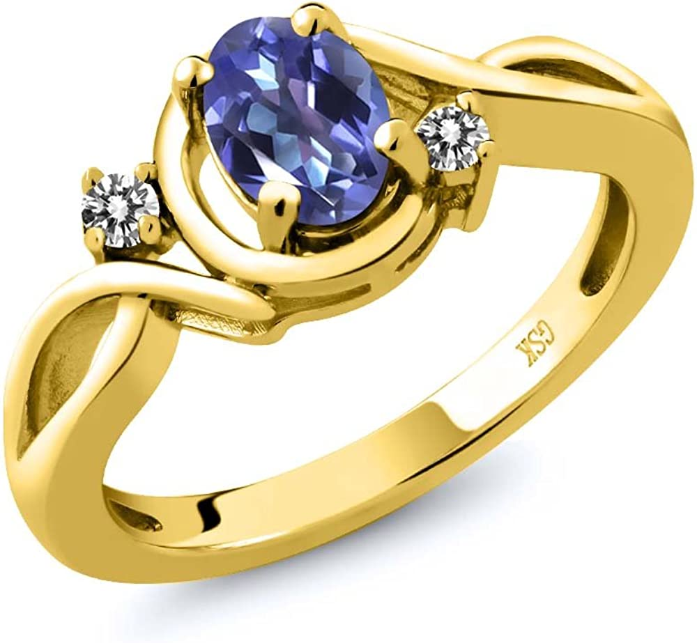 1.61 Ct Blue Created Sapphire White Diamond 18K Yellow Gold Plated Silver Ring