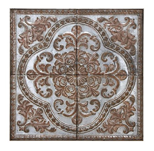 Deco 79 Wall Plaque Lavished with Antiqued Distressed Finish