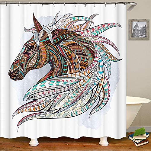 OCCIGANT Shower Curtain,Bohemian Style Cupid Arrow Love Horse,Polyester Fabric Bathroom Curtain Set with Hooks,60