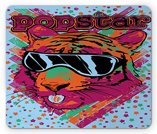 Popstar Party Mouse Pad by Ambesonne, Popstar Poster Design Artistic Lion Painted with Sunglasses Dots and Stars, Standard Size Rectangle Non-Slip Rubber Mousepad, - Sunglasses Painted