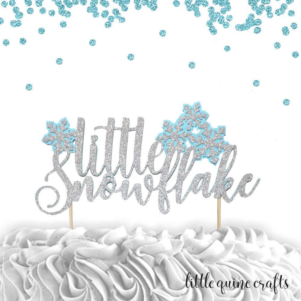Snowflake One Silver Glitter Paper Winter Wonderland First Birthday Cake Topper