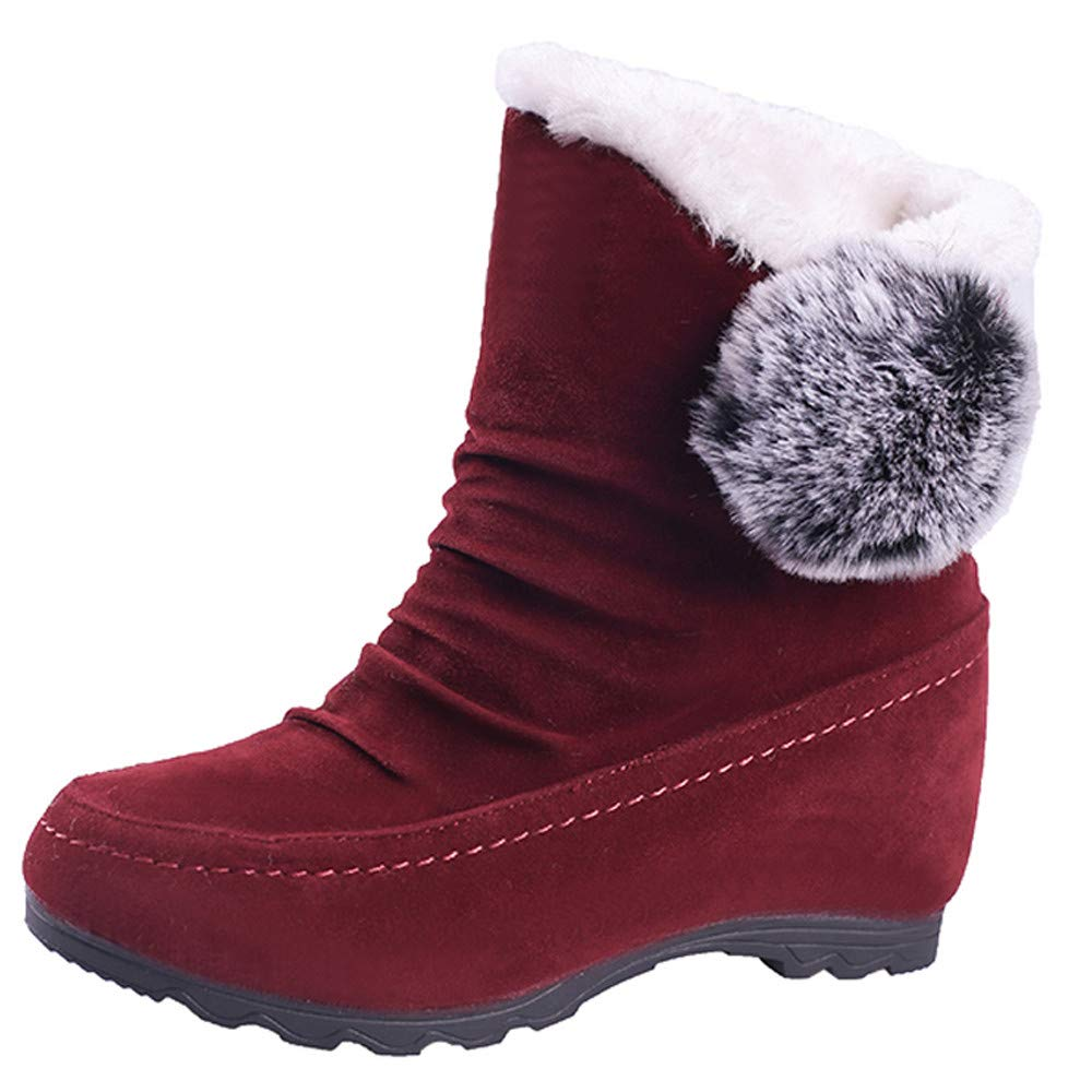 Ninasill Combat Boots Women Suede Hairball Round Toe Boots Wedges Shoes Warm Slip-On Snow Boots Ninasill_Boot ZC-1004