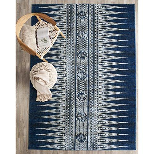 Safavieh Evoke Collection EVK226A Bohemian Vintage Royal Blue and Ivory Area Rug (5'1″ x 7'6″)