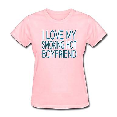 ZWZHI Women's I Love My Smoking Hot Boyfriend T-Shirt at