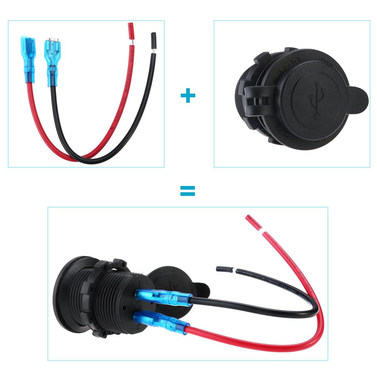 U1336265145U5276 Blue Light WINOMO Dual USB 4.2A 5V Socket Charger 12//24V Waterproof Power Outlet for Auto Car Motorcycle