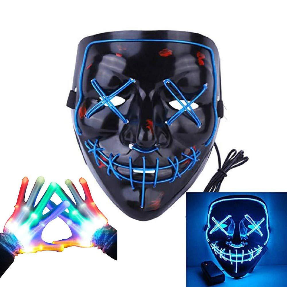 Led Mask Gloves Light up Purge Mask and Flashing Skeleton Gloves Costume Kit for Festival Party Cosplay