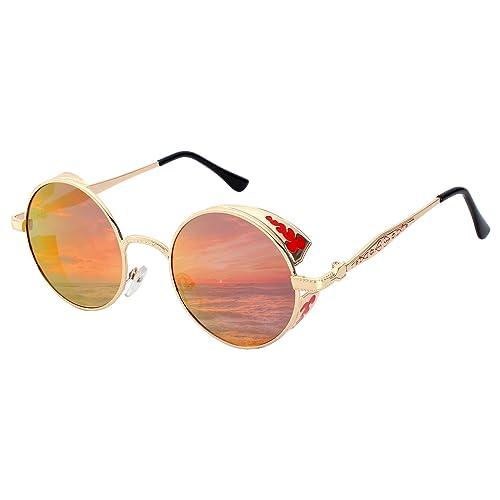 GQUEEN Steampunk redonda Retro Metálico gafas de sol polarizadas para hombres y mujeres con protecci...