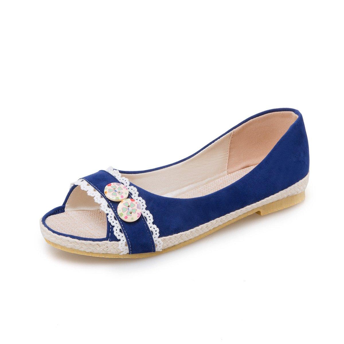 QIN&X Damen Casual Flachem Absatz Peep Toe Sandalen Sandalen Toe Blau adaa5b