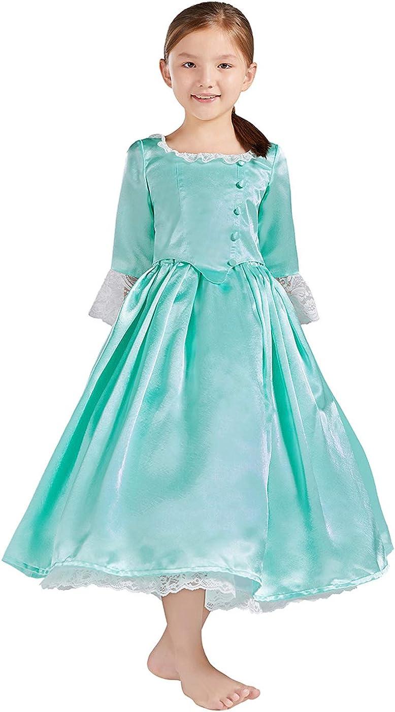 Royal Colonial Girl Child Princess Costume Hamilton Elizabeth Schuyler  Angelica Peggy Cosplay Kid Victorian Dress