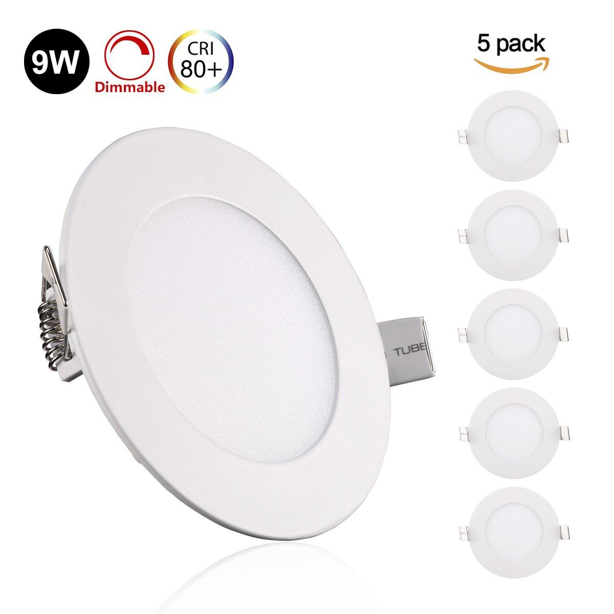 GreenClick 5er 6W LED Panel Weiß Deckenleuchte Dimmbar Einbaustrahler, extrem flach,220V 720Lumen ersetzt 60W Leuchtstoffröhren LED Deckenleuc (4000k, 6w Rund Panel)