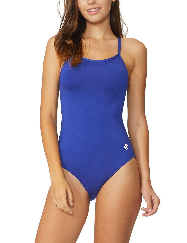 Baleaf Women's Athletic Training Adjustable Strap One Piece Swimsuit Swimwear Bathing Suit Royal Blue 32