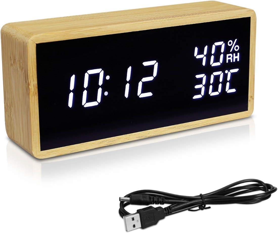 Navaris Reloj Digital de Madera con conexión USB y LED en Blanco - Despertador con 3 alarmas indicador de Humedad y Temperatura - En marrón Claro