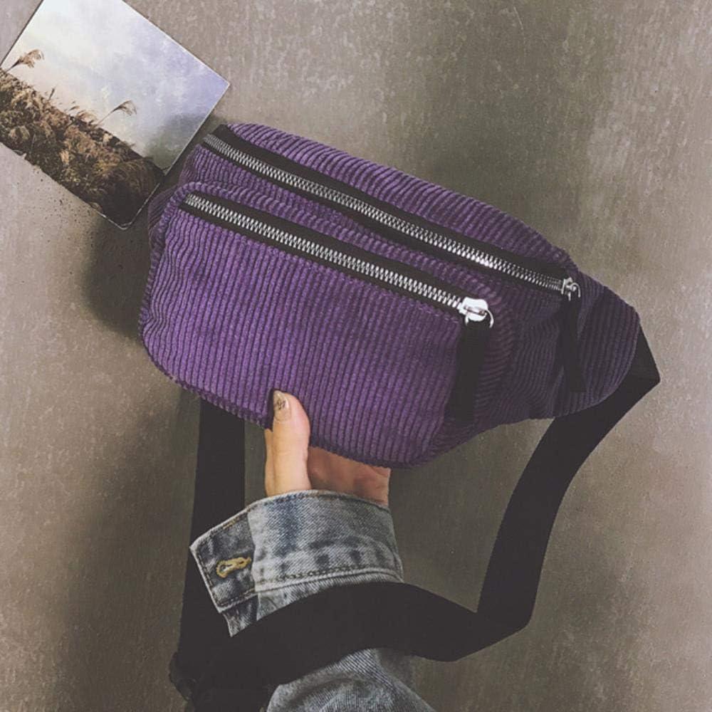 KADIS Bolso de riñonera de Lona de diseñador de Mujer Bolso de Pecho de teléfono de Calle de Moda Bolsas de cinturón de vaqueroBolso de Cintura de Pana para Hombres y Mujeres, púrpura