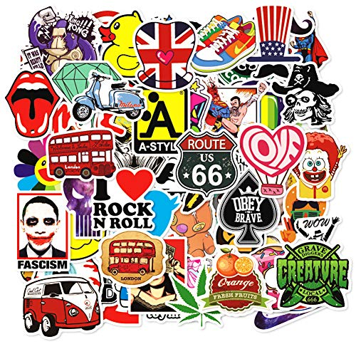 🥇 Random 200 Stickers Pack 200 Pcs Suitcase Stickers Decals for Laptop Ipad Car Helmet Bumper Luggage Water Bottle