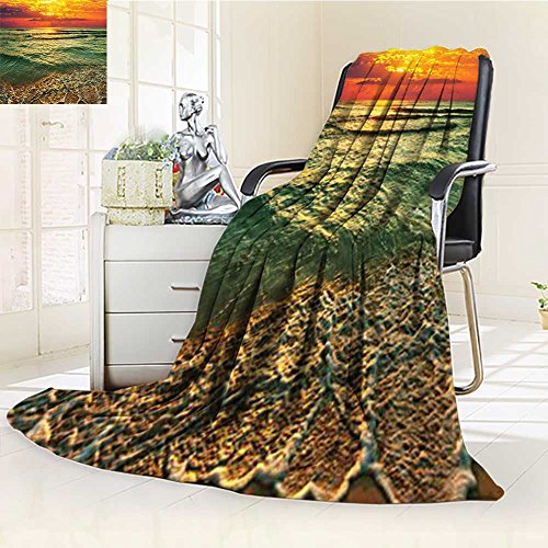 YOYI-HOME Super Soft Duplex Printed Blanket Mystic Sunset at Dusk Behind Dense Clouds Wavy Sea and Sandy Picture Teal Orange Ivory Anti-Static,2 Ply Thick,Hypoallergenic/W59 x H47