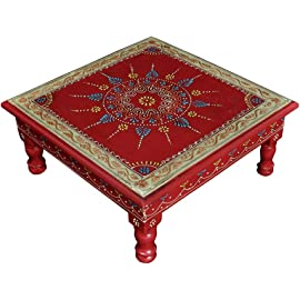Lalhaveli Elegant Handmade Design Wooden Stool & Pooja Chowki 13X13X5.5Inches