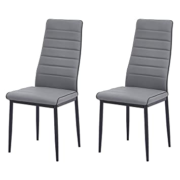 Fabulous Gizza Stylish Design Dining Chairs Faux Leather High Back Seat Foam Padded Metal Legs Home Kitchen Room Restaurant Furniture Grey Black Pipe 2 Evergreenethics Interior Chair Design Evergreenethicsorg