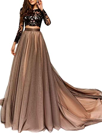 LastBridal Women Lace Long Sleeves Two Piece Prom Dresses Long 2018 Formal Party Evening Gown LB0139