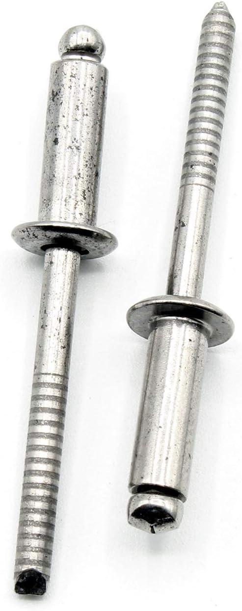 Blindniete Grip Dorn /Ø4mm x 20mm 100 St/ück UNI 9200 A EN ISO 1598 Edelstahl V2A AISI 304 DIN 7337 A /Ähnl Klemmbereich 14,0-16,0mm
