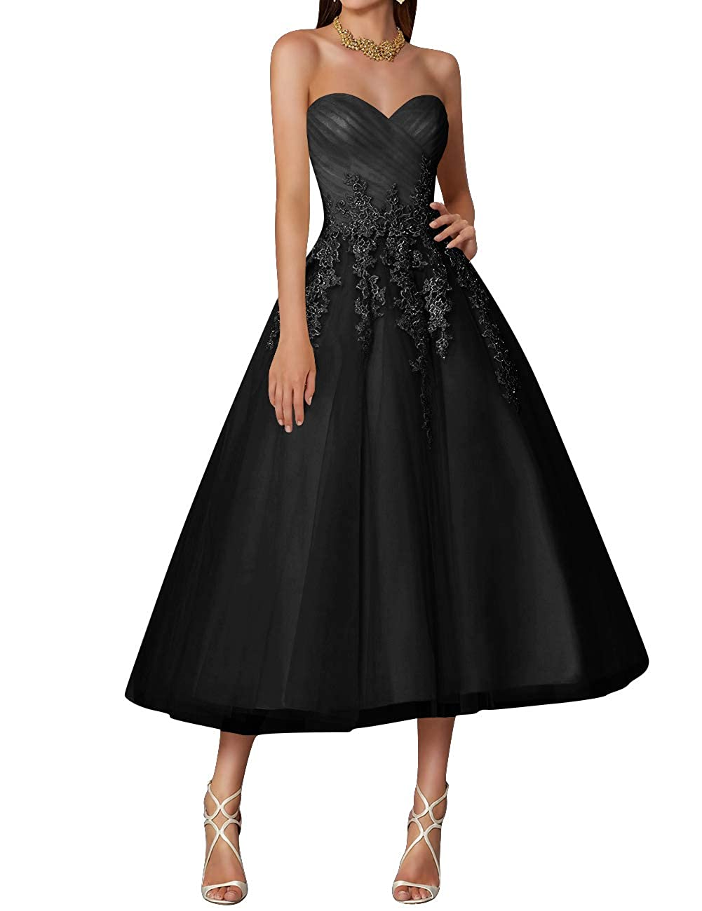 Black Wedding Dress Tulle Tea Length Prom Party Gowns Sweetheart Lace Vintage
