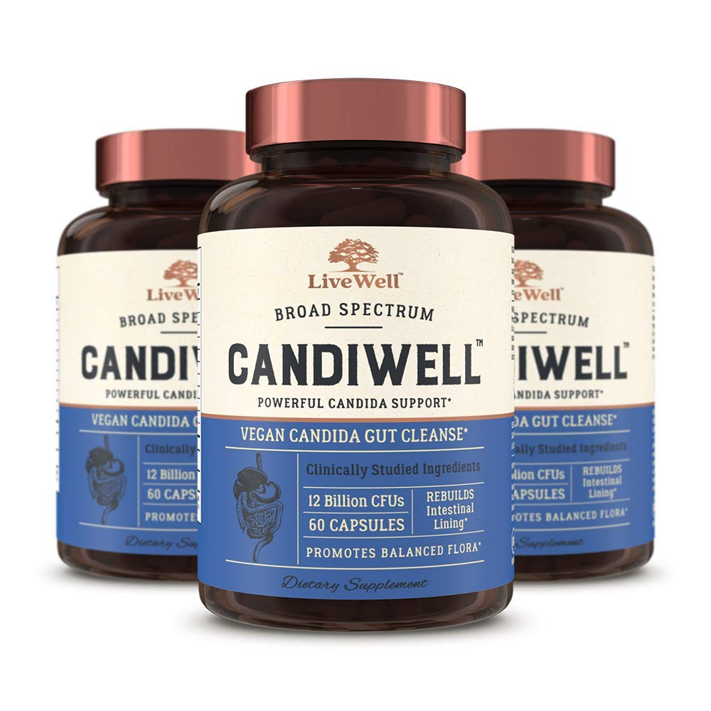 CandiWell - Powerful Candida Support with Clinically Studied Herbs and Botanicals, Digestive Enzymes, and Probiotics | Vegan Candida Gut Cleanse - 90 Day Supply (180 Capsules) by LiveWell Labs Nutrition