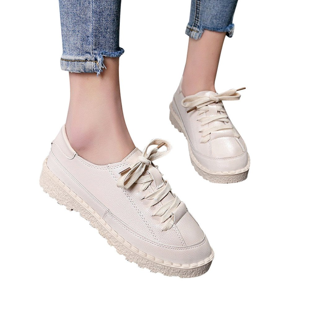 Shoes For Womens -Clearance Sale ,Farjing Fashion Women's Sports Shoes Ankle Flat Lace-Up Casual Shoes Short Boots(US:5,Beige )