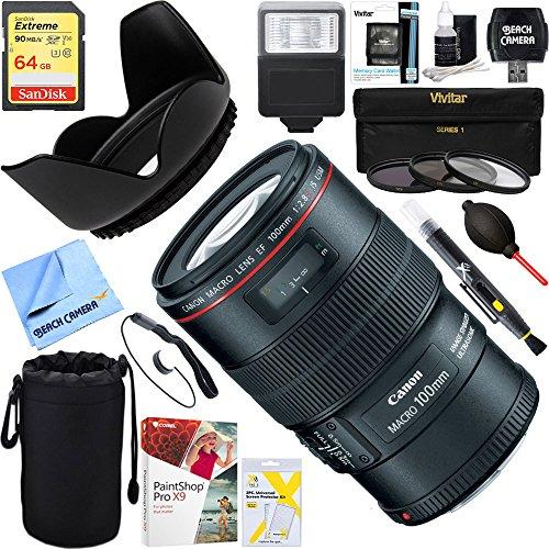 Canon EF 100mm f/2.8L Macro IS USM Lens + 64GB Ultimate Filt